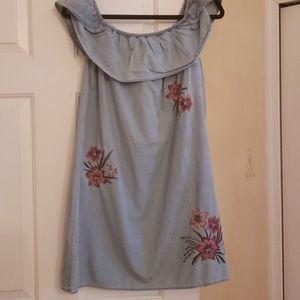 Express off shoulder chambray dress